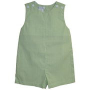 This cool and comfy shortall is in green mini-check with buttons on shoulders and back together with snaps at legs.  Available in sizes 3, 6, and 9 months.  *See also Infant Boy in sizes 12, 18 and 24 months.  by Petit Ami