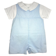 Great Petit Ami shortall in blue micro-check with a white shirt trimmed in the same piping on collar and sleeves.  It snaps at legs and buttons in the back. It is fully lined. This is a great church outfit!  Available in sizes 3, 6, 9 months.  See also in Infant Boy 12, 18, 24 months