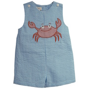 This cute seersucker shortall has an extensive crab applique on the front with buttons at the shoulders and back and snaps at the legs.  It is lined at the chest for comfort.  Available in sizes 12, 18, 24 months Zubels by Petit Ami. See also Baby sizes 3, 6, 9 months