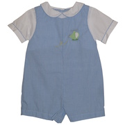 Great baby boy jon jon in blue mini-check with faux collared shirt and cute helicopter applique.  Available in sizes 3, 6 and 9 months (see also in 12-24 months).  Great for dressy occasions!  by Petit Ami