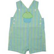 Celebrate his Day with this Zu Petit Ami Infant Boy Shortall in Seersucker Stripes of Blue, Green and White with Green Cupcake Applique. Buttons at Top and Sides.  Available in Sizes 12, 18 and 24 Months