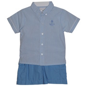 Cute infant boy short set with brushed cotton collared shirt and twill shorts with cargo pockets.  Great Summer outfit!  Available in sizes 12, 18 and 24 months (see also in Toddler) by Petit Ami