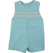 Petit Ami Infant Boy Sunsuit/Shortall with Extensive Smocking Across the Chest (Lined for Comfort), Buttons on Shoulders and in Back. Great as Church Wear.  Available in Sizes 12, 18 and 24 Months