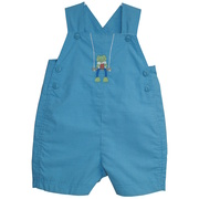 This cute Jon Jon is in a blue and teal mini-check with an embroidered frog on the front, it buttons at the top and sides and snaps at the legs.  Lined in front.  So cute!  Available in Sizes 3, 6, and 9 months.  See also Infant Boy sizes 12, 18 and 24 months.  by Petit Ami