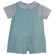 This adorable shortall is in an aqua mini-check pattern which snaps at legs and buttons in back with a separate shirt with a Peter Pan collar trimmed in aqua.  Great for dressy occasions!  Available in sizes 12, 18 and 24 months