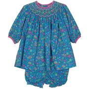 Colorful baby girl dress set in bright floral print, smocked bishop neckline, and coordinating corduroy trim.  Comes with matching panty.  Sweet!  Available in sizes 12, 18 and 24 months.  See also Baby and Toddler Girl sizes.  by Petit Ami
