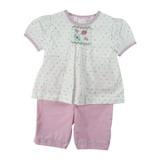 Infant Girl Clothes 12 to 24 Months - Adorable Infant Girl Capri Set in 100% Cotton with Colorful Polka Dot Top in Pastel Colors with Cute Flower Smocking, Button Closure and Pink Mini-Check Capris that Match the Trim on the Top.  Very Sweet!  Available in Sizes 12, 18 and 24 Months by Petit Ami