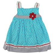 Infant Girl Dresses - Adorable Infant Girl Dress Set in Turquoise with Red Polka Dots, Plaid Trimmed Bodice and Hem, Flower Accent, Rick-Rack Trimmed Straps and Three Button Closure.  Bloomer Matches Plaid Trim. Bodice is Lined. So Cute!  Available in Sizes 12, 18 and 24 Months.  See Sister Dresses in Baby Girl, Toddler Girl and Young Girl