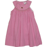 Adorable baby girl fuchsia mini-check dress with smocking and watermelon embroidery on yoke neckline, includes bloomer.  Available in 12-24 mos (see also in 3-9 mos) Sweet summer dress!  by Petit Ami