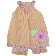 Infant Girl Clothing - Adorable Infant Girl Seersucker Capri Set with Sack Top with Round Ruffled Neckline, Appliqued Hibiscus Flower with Pearl Beading and Matching Capri Pants. So Cute!  Available in Sizes 12, 18 and 24 Months.  See Sister Outfit in Baby Girl
