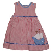 Darling red seersucker dress with blue ship applique, includes bloomer; works great for the 4th of July!  Available in sizes 12, 18 and 24 months. (see also in Toddler) by Zubels Petit Ami