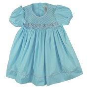 Beautiful Toddler Girl Dress by Petit Ami with Intricate Smocking with Flowers and Beads and Pink Piping.  Simply Gorgeous!  Available in Sizes 2T, 3T and 4T (See Sister Dress in Infant Girl Sizes)