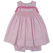 Cute Petit Ami Infant Girl Seersucker Dress Set in Pink and White Stripes with Smocking on the Front with Pink Ruffle Trim. It Buttons at Back and Has a Matching Bloomer. Adorable!  Available in Sizes 12, 18 and 24 Months (See Sister Dress in Toddler Girl Sizes)