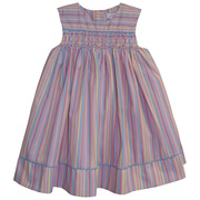 Great striped dress with smocking and beads across the chest with blue piping.  Matching panty included.  Available in Sizes 12, 18 and 24 mos.  See also Baby Girl and Toddler Sizes by Petit Ami