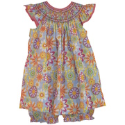Vibrant Floral Dress with Bishop Smocking with Cute Flutter Sleeves and Matching Panty.  Available in Sizes 3, 6 and 9 months.  See also Infant Girl Sizes 12, 18, and 24 mos.  by Petit Ami