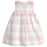 Darling seersucker dress set in pink and green plaid with button tab shoulders and buttons at back together with a matching plaid panty.  Available in sizes 12, 18 & 24 months.  See also Baby Girl sizes 3, 6, 9 months. by Petit Ami