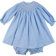 This sweet bishop smocked dress is in a periwinkle blue mini-check with pink and white threading in the smocking along with tiny pearls and rosettes.  Matching bloomer included.  Available in sizes 12, 18 and 24 months by Petit Ami (see baby and infant boy clothes that match)