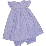 This cute dress set has a bishop neckline that could be monogrammed, flutter sleeves and a matching panty.  She