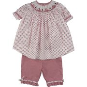 Adorable Petit Ami Infant Girl Capri Set with Ladybug Smocking on the Bishop Style Neck, Sweet Top in White with Red Polka Dots Trimmed in Red and White Mini Check at Neckline and Cuffs. Matching Capri Pants with Polka Dot Trim. Cute, Cute, Cute!  Available in Sizes 12, 18 and 24 Months (See Sister Outfit in Toddler Girl Sizes)