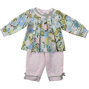 Newborn Girl Clothes - Adorable Swing Top Pant Set by Petit Ami in Pastel Pink, Blue, Green and Grey Floral Patterned Top with Round Neck Accented with a Grey Bow and Four Button Closure at Back.  Pants are Pastel Pink with Grey Bows with an Elastic Waist.  Cute, Cute, Cute!  Available in Sizes 3, 6, and 9 Months. * See Sister Outfit in Infant Girl