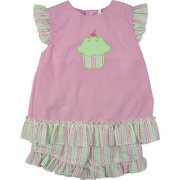 Celebrate Her Day with this Zu Petit Ami Infant Girl Short Set with Pink Mini-Check Top with Cupcake Applique and Pink and Green Seersucker Striped Trim, Flutter Sleeves and Pull-On Shorts. Sweet!  Available in Sizes 12, 18 and 24 Months