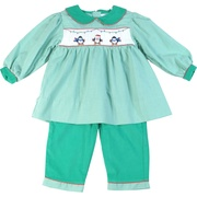 This is a cute holiday outfit with a green mini-check top with festive penguin smocking finished with a soft pinwale corduroy cuffs and collar and four button at back, together with green pinwale corduroy pants with the mini-check trim.  Adorable!  Available in sizes 12, 18 and 24 months (see matching outfits in Baby and Infant Boy) by Petit Ami