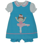This cute pinwale corduroy dress has an extensive ballerina applique, Peter Pan collared blouse and matching corduroy panty.  Available in sizes 12, 18 and 24 Months.