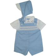 This dressy preemie boy shortall has a mock collared white shirt on a blue mini check shortall (lined) with detailed smocking and matching hat. Great for Church and holidays! Available in size Preemie by Petit Ami