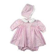 "Newborn Girl Clothes by Petit Ami - Precious Newborn Girl Dress Set in Pink Houndstooth with Delicate Smocking (Lined for Comfort), Peter Pan Collar, Three-button Back and Matching Panty and Hat.  Ideal for ""Take me Home"" outfit!  Available in Newborn (0-3 mos).  *See Sister Dresses in Preemie Girl and Baby Girl Sizes 3, 6, 9 Months (PABG-2274)"