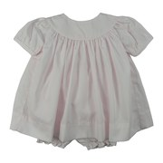 Petit Ami Newborn Girl Dress in Cotton Batiste with White Piping and Panty.  Can Be Monogrammed.  Very Sweet!  Availalbe in Size Newborn