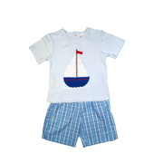 This cute short set consists of a soft 100% cotton shirt with round neckline, large ship applique and three snaps in the back together with a pull-on short in a blue plaid pattern.  Available in sizes 2T, 3T and 4T (see also brother and sister outfits in Infant and Toddler) by Zu Petit Ami  NOTE: I
