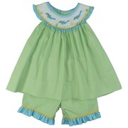 Cute Petit Ami Toddler Girl Dress Set with Bishop Collar and Dolphin Smocking on Green, Blue and Yellow Mini Check Fabric with Matching Shorts Trimmed in Rick Rack and Blue Ruffles. Adorable!  Available in Sizes 2T, 3T and 4T (See Matching Brother and Sister Sets in Baby Girl and Baby and Infant Boy (Sharks)
