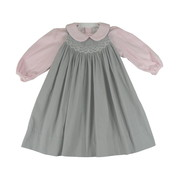 Sweet Toddler Girl Grey Corduroy Jumper with Pink and White Smocking and Pink Rosettes. Jumper Buttons at Back. Comes with a Soft Pink Peter Pan Collared Top that Snaps at Back.  by Petit Ami.  Adorable!  Available in Sizes 2T, 3T and 4T