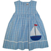 This cute Summer dress is in a blue plaid with a high waist, large ship applique and white rick-rack trim.  Lined at chest for monogram,  buttons in the back.  Available in sizes 12,18 and 24 months. See matching brother and sister outfits in Infant and Toddler. Zu by Petit Ami