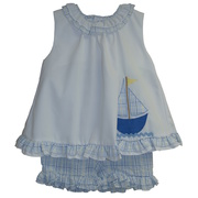 Adorable White and Blue Capri Set with White Top Trimmed in Blue Plaid Seersucker along with a Matching Sailboat Applique.  Matching Blue Seersucker Capris with Elastic Waist.  Available in Sizes 2T, 3T and 4T