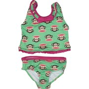 Cute Infant Girl Tankini Bathing Suit in Green with Fuchsia Bow and Trim in Paul Frank