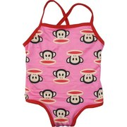 Cute Infant Girl One Piece Bathing Suit in Pink with Red Trim in Paul Frank