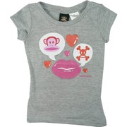 Paul Frank Girls Tees Sizes 4-6X in Heather Grey with Pink and Orange Hearts, Skull and Crossbones, Lips and Julius.  Great with Jeans and Shorts! Available in Sizes 4, 5, 6 and 6X
