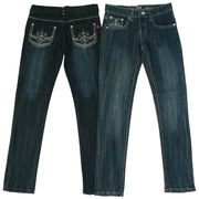 Girls Jeans Sizes 7-14 by Pop Jeans - Girls Skinny Jeans with Lots of Bling on the Back Pockets Consisting of Rhinestones and Colored Threading in a Fleur de Lis Pattern.  Available in Sizes 7, 8, 10, 12 and 14