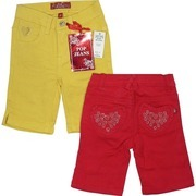 Toddler Girl Shorts - Colorful Toddler Girl Bermuda Shorts with Adjustable Waist, 5 Pockets with Heart Embroidery and Studs on Coin and Back Pockets.  Very Cute! Available in Sizes 2T, 3T and 4T in Strawberry Red and Mustard Yellow.   by Pop Jeans