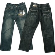 Boys Jeans Sizes 4-7 by Rebel Jeans with Crinkled Front and Back, Adjustable Waist, Stylish Pockets with Colored Threading and Studding.  Available in Sizes 4, 5, 6 and 7