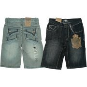 Boys Shorts Sizes 4-7, Stylish Boys Denim Shorts with Adjustable Waist,  5 Pockets with Tabbed Back Pockets and Thread Design.  by Rebel Jeans  Available in Sizes 4, 5, 6 and 7 in Black and Blue Distressed Denim