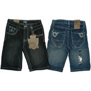 Boys Shorts Sizes 4-7 - Stylish Boys Denim Shorts with Adjustable Waist, 5 Pockets with Flap Closure on Back Pockets and Thread Design. by Rebel Jeans  Available in Black and Blue Denim in Sizes 4, 5, 6 and 7