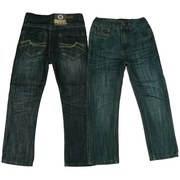 Boys Jeans by Rebel Jeans, Fashionable Tween Boy Jeans with Fold-Over Pockets in Back and Stylized Threading. Cool Crinkle Look!  Available in Sizes 8, 10, 12, 14 and 16. Other Sizes in Toddler Boy and Boys 4-7