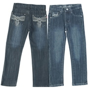 Sweet Girls Jeans with adjustable waist and threading and rhinestones on the back pockets that gives them a lace look.  Very feminine!  Available in sizes 4, 5, 6 and 6X by Pop Jeans