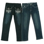 Girls Jeans Sizes 2-4T by Pop Jeans - Cute Girls Skinny Jeans with Adjustable Waist and Silver Threading and Rhinestones on Back Pockets in a Fleur de Lis Pattern. Available in Sizes 2T, 3T, 4T