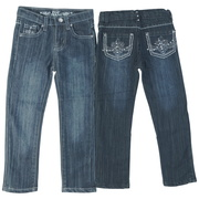 Sweet Girls Jeans with adjustable waist and fleur de lis pattern with threading and rhinestones on the back pockets .  Cute!  Available in sizes 4, 5, 6 and 6X by Pop Jeans