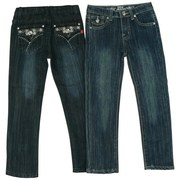 Girls Jeans Sizes 4-6X by Pop Jeans - Cute Girls Skinny Jeans with Adjustable Waist and Silver Threading, Rhinestones and Studs on Back Pockets in a Stylish Pattern. Available in Sizes 4, 5, 6 and 6X