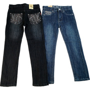 Cute Tween Girl Jeans with Embellished Back Pockets with Rhinestones and Blue Grey Threading in a Swirl Pattern.  Available in Sizes 7-14 in Denim and Dark Denim by Pop Jeans