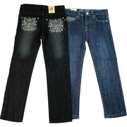Cute Tween Girl Jeans with Embellished Back Pockets with Rhinestones and Blue Grey Threading.  Available in Sizes 7-14 in Denim and Dark Denim by Pop Jeans